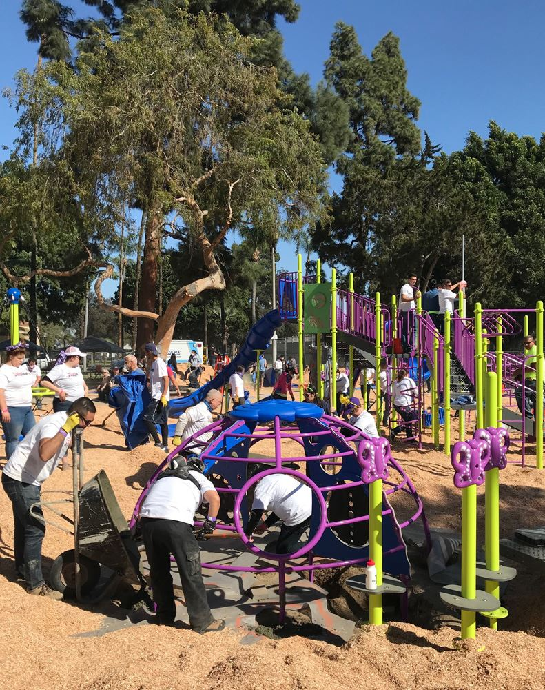 People building playground