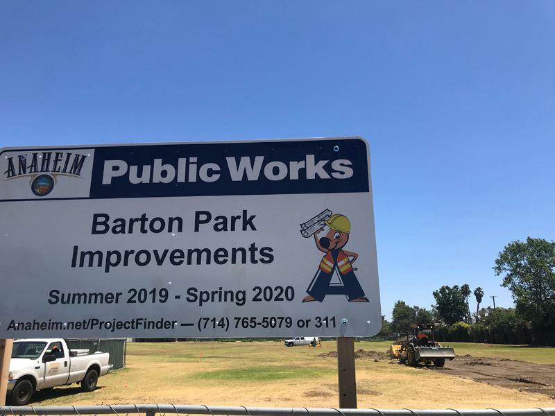 Barton Park Improvement Sign